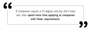 If companies require CS degrees and you don't have one, then spend more time applying at companies with fewer requirements.