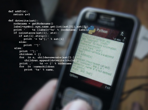 Python code on a phone screen